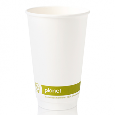 Planet Compostable Double Wall Hot Cup 16oz (89mm Rim) Pack