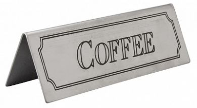 Stainless Steel Tent Style Sign - COFFEE