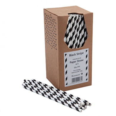 Paper Straws - Black and White Stripe 8-inch (6mm x 200mm) 2