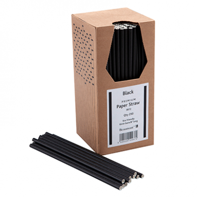 Paper Straws - Black 8-Inch (6mm x 200mm) 250 Pack