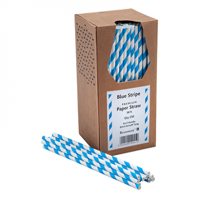Paper Straws - Blue and White Stripe 8-Inch (6mm x 200mm) 25