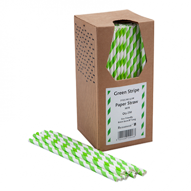 Paper Straws - Green and White Stripe 8-Inch (6mm x 200mm) 2