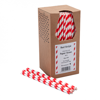 Paper Straws - Red and White Stripe 8-Inch (6mm x 200mm) 250