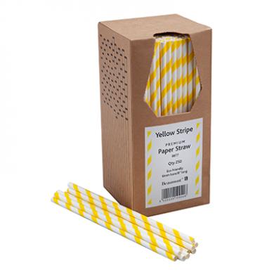 Paper Straws - Yellow & White Stripe 8-inch (6mm x 200mm) 250 Pack