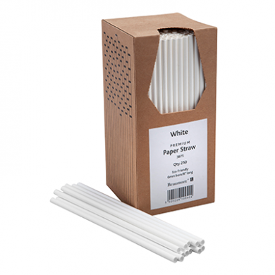 Paper Straws - All White 8-inch (6mm x 200mm) Pack of 250