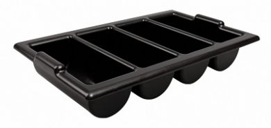 Cutlery Tray with Four Compartments (Black Plastic) - Broken