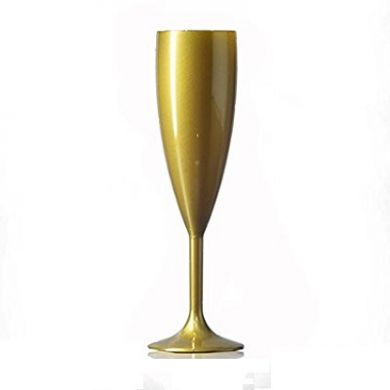 Polycarbonate - Gold Champagne Flute (187ml) Not CE