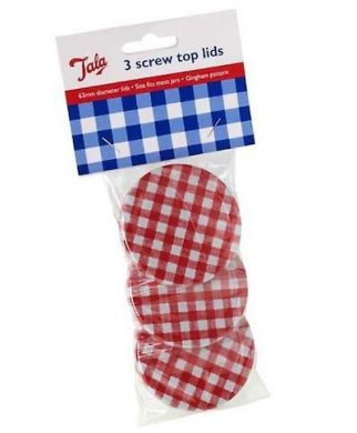 Tala - Red Gingham Jam Jar Lids (Set of 3)
