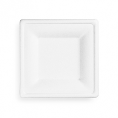 Bio Compostable Bagasse Square Plate - 6 inch (Pack of 50)