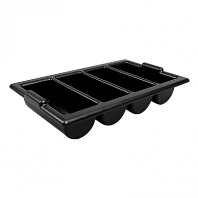 Cutlery Tray with Four Compartments (Black Plastic)
