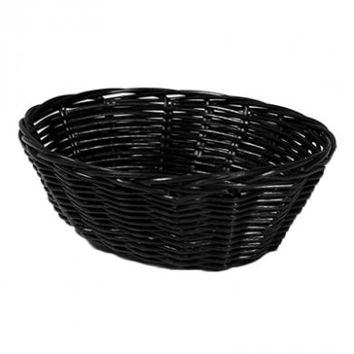 Basket - Oval Shape (Poly-Rattan) 18cm x 13cm - BLACK