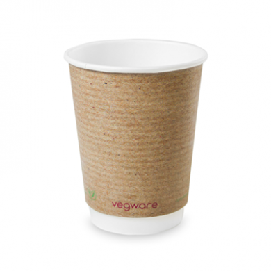 Bio Compostable Brown Double Wall Hot CUPS 12oz (89mm Rim) P