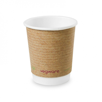 Bio Compostable Brown Double Wall Hot CUPS 8oz (79mm Rim) Pk