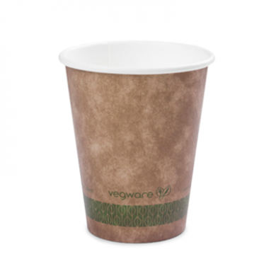 Bio Compostable Brown Single Wall Hot CUPS 12oz (89mm Rim) P