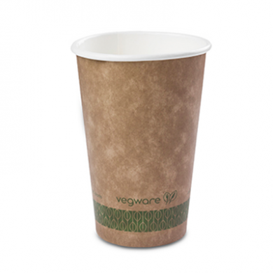 Bio Compostable Brown Single Wall Hot CUPS 16oz (89mm Rim) P