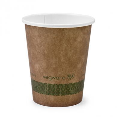 Bio Compostable Brown Single Wall Hot CUPS 6oz (72mm Rim) Pk