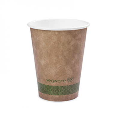 Bio Compostable Brown Single Wall Hot CUPS 8oz (79mm Rim) Pk