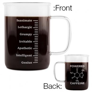 Glass Beaker Caffeine Mug (400ml)
