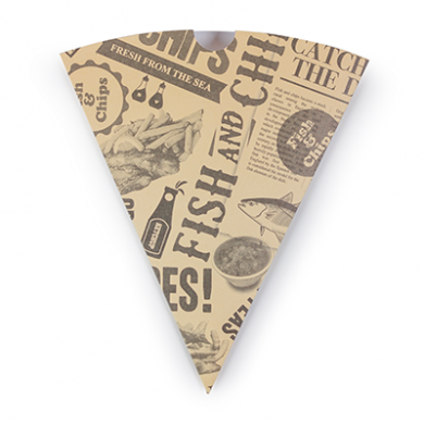 Bio Compostable Chip Cone - Newspaper Print (Case of 1000)