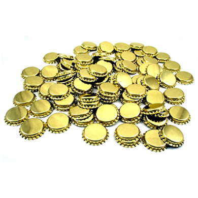 Metal Crown 26mm Bottle Caps - GOLD (Pack of 10)
