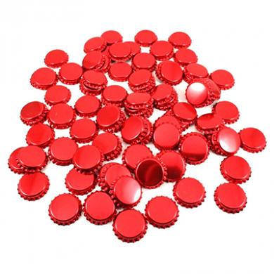Metal Crown 26mm Bottle Caps - Metallic RED (Pack of 10)