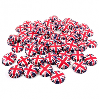 Metal Crown 26mm Bottle Caps - Union Flag (Pack of 10)