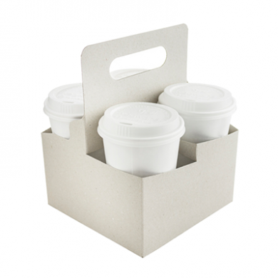 Bio Compostable 4 Cup Holder Carriers with Handle (Pack of 2