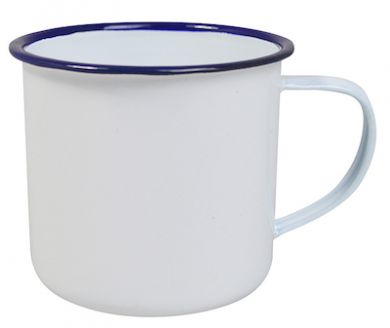 Enamel Mug - White with Blue Rim (18oz/520ml) 90mm Rim LARGE