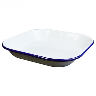 Enamel Square Dish (25cm x 25cm x 4cm) - BLUE Rim