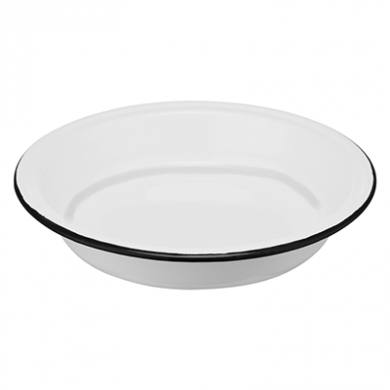 Enamel Deep Round Plate (210mm) - GREY Rim