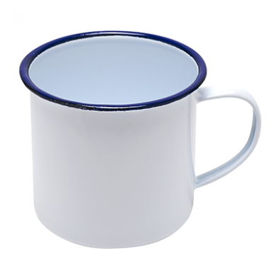 Enamel Mug - White with Blue Rim (13oz/360ml) Medium