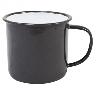 Enamel Mug - BLACK (13oz/360ml) 80mm Rim Medium