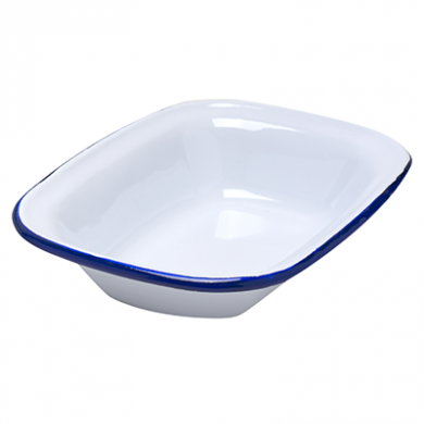 Enamel Pie Dish Oblong (180mm x 130mm) - BLUE Rim
