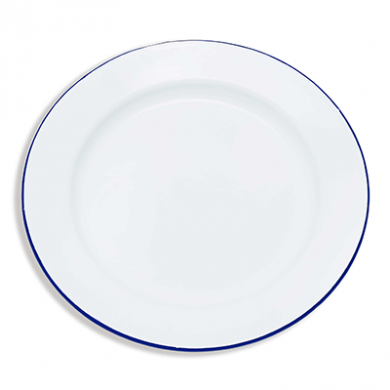Enamel Round Plate (255mm) - BLUE Rim WAS £2.89