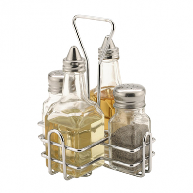 Glass Condiment Cruet Set and Stand (4-Piece)