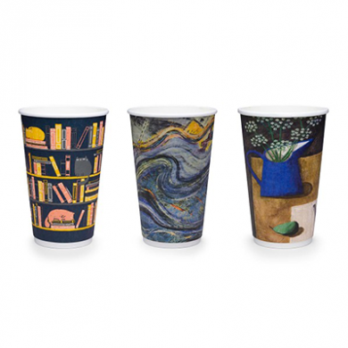 Bio Compostable Gallery Design Hot CUPS 16oz (89mm Rim) Pk o