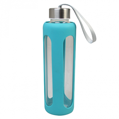 Glass Water Bottle (600ml) - TEAL