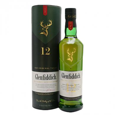 Glenfiddich 12 Year Old Malt Whisky (700ml) - 40% ABV (In Gi