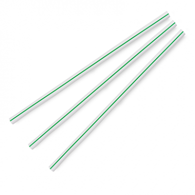 Compostable Straws - Green Stripe 8.25-Inch 7mm (Pack of 500