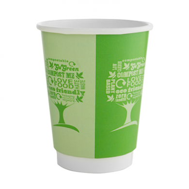 Bio Compostable Green Tree Double Wall Cup 12oz (89mm Rim) P