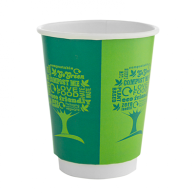Bio Compostable Green Tree Double Wall Cups 8oz (79mm Rim) P
