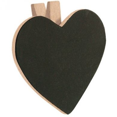 Heart Shaped Chalkboard Peg - 60mm x 55mm (Single)