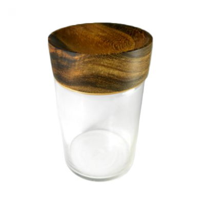 Kokoa Collection Sundries - Glass & Teak Display Jar
