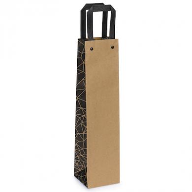 Kraft Paper Bottle Bag With Side Design (95 x 385 x 91mm)