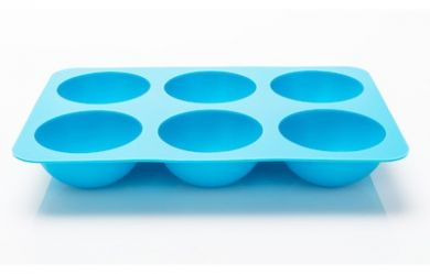 Silicone Hemisphere Ice / Cake Mould - Tray of 6 Large Blue