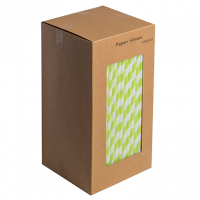 Paper Straws - Lime Green and White 8-Inch (6mm x 200mm) 250