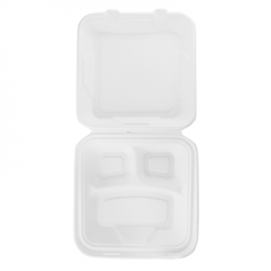 Bio Compostable Lunchboxes - 3 Compartment 9in x 9in (Pack o