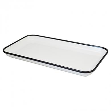 Melamine Tray - White with Black Rim (18 x 33cm)