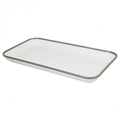 Melamine Tray - White with Grey Rim (18 x 33cm)