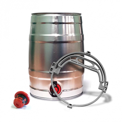 Mini Beer/Cocktail Keg with Tap SILVER Inc Handle and Bung (